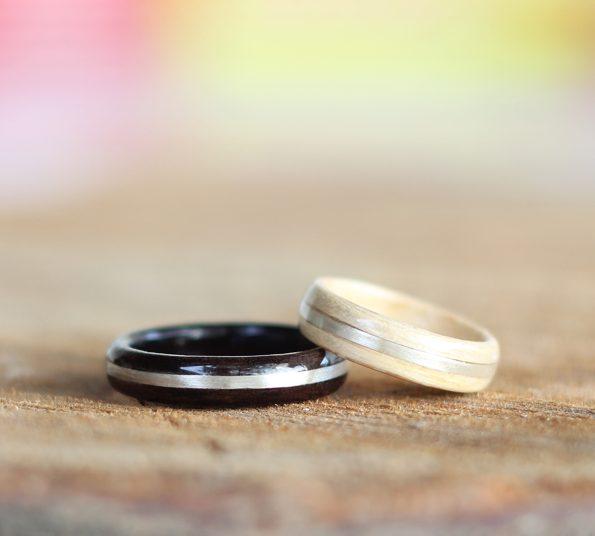 prstan iz srebra, hrasta in javorja