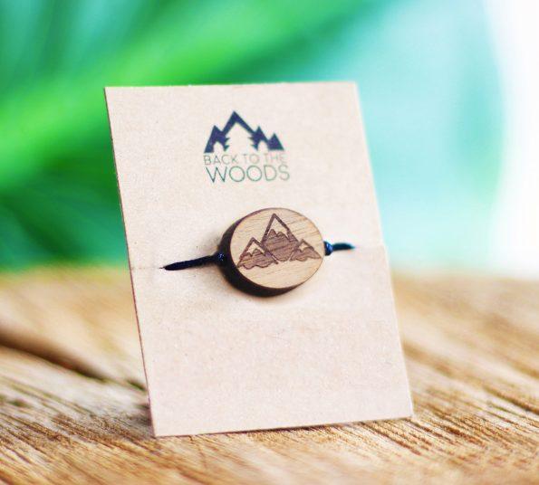 lesena zapestnica z motivom gora